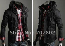 Wholesale Korean Jackets Men Sale - Wholesale-Promotions!! Hot Sale Korean style Men's jacket Men's coat Men's fashion jacket with cap winter jacket size:M,L,XL,XXL