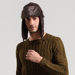 Wholesale Earflap Hat Balls - Wholesale-Fashion Winter Earflap Cap Russian Style Warm Hat for Men & Women