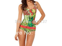 Wholesale poison ivy - Wholesale-2015 New Women's Tankinis Set Bodysuit POISON IVY SWIMSUIT Digital Print Swimwear Bikini Wetsuit Camisole Drop Ship Hot
