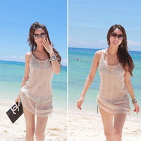 Wholesale Women See Through Bikinis - Wholesale-Free Drop Shipping #Women Gauze See Through Sleeveless Smock Bikini Cover Up Beach Dress Tank Tops