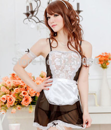Wholesale Sexy Maid Servant - Wholesale-New HOT Sexy Lingerie Cosplay Dress Costume Head hoop Maid servants Party + G-string