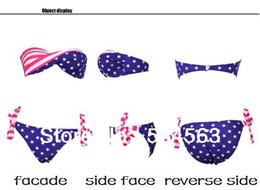 Wholesale Sexy Tie Side Bikini - Wholesale-LC01 2015 New Hot Sexy Lady's Padded Twisted Tie Side Bikini AMERICAN US Flag Swimsuit Free Shipping
