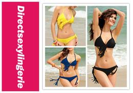 Wholesale Tri Bikini - Wholesale-2015 New Hot Sexy Bikini Swimsuit Set Tri-cup Tassel Bikini Yellow Blue Black LC40601 Cheap price Cheap Shipping Drop Shipping
