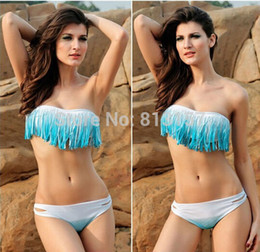Wholesale Cheap Bandeau Bathing Suits - Wholesale-Free Drop Shipping Sexy Fringe Bandeau Bikini Set New Fashion Cheap Sexy Swimsuits White Pink The Women's Bathing Suits