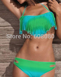Wholesale Tassel Halter Sexy Bikini Swimwear - Wholesale-Fashion Gradient Tassel Bikini Set Sexy Halter Bathing Suit Hot Sale Swimwear Women Bandeau Biquini 1183