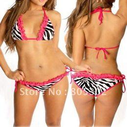 Wholesale Tied Pink Lingerie - Wholesale-Retail--sexy lingerie zebras Bikini Ladies Swimwear Swimming Tie Back,free shipping,DK3009