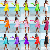 bikini couvre la poitrine achat en gros de-Gros-New 2015 robe de plage Europe et Amérique style élégant wrap poitrine maillot de bain bikini plage couvrent les femmes maillot de bain cover ups jupes