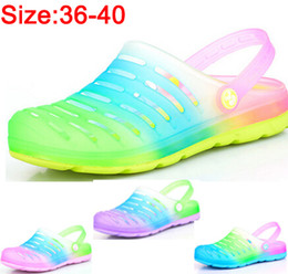 Wholesale Rainbow Sandals Shoes - Wholesale- 2015 Women Rainbow EVA Garden hole jelly shoes summer breathable sandal beach lazy colored shoes slippers sandals flats clogs