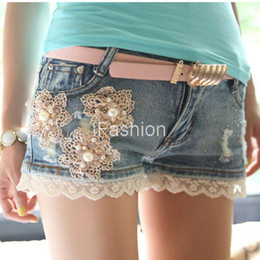 Wholesale Cute Blue Jeans For Women - Wholesale-Spring Summer Women Denim Shorts Jeans For Young Girls Nail Bead Lace Ruffles Floral Cute Design Blue Color J1838