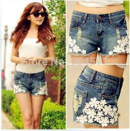 Wholesale Short Rivet Jeans - Wholesale-2015 New Women's Spring Summer Plus Size Casual Washed Jeans Short Hot Lace Rivet Denim Shorts Embellished Hole Female