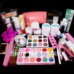 Wholesale Gel Lamp Kit - Wholesale-Hot Sale Professional Manicure Set Acrylic Nail Art Salon Supplies Kit Tool with UV Lamp UV Gel Nail Polish DIY Makeup Full Set