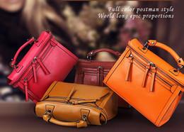 $enCountryForm.capitalKeyWord Canada - Wholesale-2015 Hot Women Vintage Wax Genuine Leather Handbag Fashion Double Zipper Rose Tote Messenger Bag! Q0293