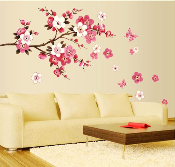 Wholesale Removable Pvc Modern Peach Blossom Butterfly Home Decor ...