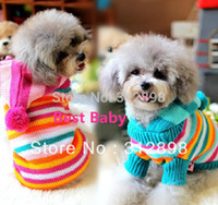 Wholesale Knitted Sweater For Cat - Wholesale-New Dog Clothing Cotton Striped Hoodie Knitting Winter Warm Pet Sweater For Puppy XXS XS S M L Yorkshire Chihuahua Cat Products