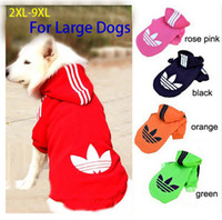 Wholesale Hoodies Big Size - Wholesale-Big Pet Dog Clothes Coat Hoodie Sweater Costumes Size XXL-9XL for Large Dogs Free Shipping
