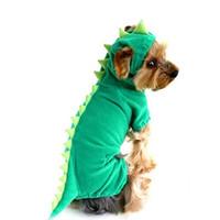trajes para halloween al por mayor-Al por mayor-Dinosaur Dog Pet Disfraces de Halloween XS S M L XL Perros de mascotas Green Coat Outfits FreeDropShipping