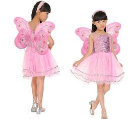 Wholesale Magic Dancing - Wholesale-Kids Halloween Costume Butterfly Fairy Skirt Colorful dance skirt Fancy dress one set include Headband Wing Magic Wand
