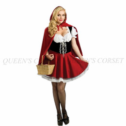 Barato Pequeno Vermelho Bonito-Costumes Atacado-bonito Little Red Riding Hood Dress Up Halloween Mulheres Cosplay Outfit Plus Size S-XXXL