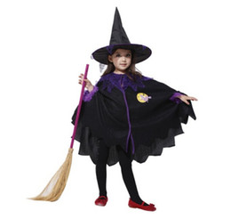 Wholesale Masquerade Hats - Wholesale-100% Brand New Cute Children Flying Witch Masquerade Costumes for Kid Girls With 1* hat +1* Clothes (Broom is Not Included))