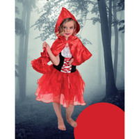 Wholesale Capes Costume Red Riding Hood - Wholesale-Performance wear girl costumes little Red Riding Hood dress cloak bag 3pcs costume kits for kids girls children carnival Fiesta