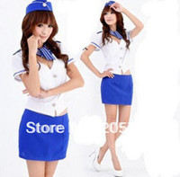 Wholesale Sexy Lingerie Stewardess - Wholesale-Sexy underwear Stewardess Costumes Night club bar costume lingerie (T-shirt + skirt + hat+Scarves)Free shipping K-004