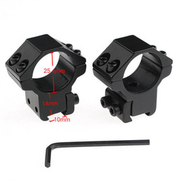 Al por mayor-1Set = 2Pcs Tactical 25.4mm Alcance del anillo 10mm Rail Mount Negro Hunting Weaver Scope Mounts Outdoor Camping Rifle Scope Mount