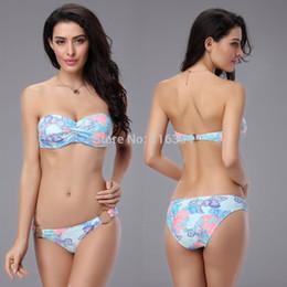 Wholesale Womens Padded Bikini Tops - Wholesale-Free P&P Sexy Womens Floral Print Padded Push Up Bikini Set Bandeau Swimsuit Beachwear Strap Bikini Underwire Tops Drop Ship