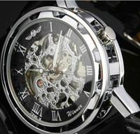 Wholesale Antique Skeleton Clocks - Wholesale-Winner Luminous Clock Men's Automatic Skeleton Watch Military Watch Mechanical Relogio Male Dieseler Watch Mens Relojes De