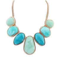 Wholesale Exaggerated Bib Necklace - Wholesale-2015 100% New Exaggerated & Simple Seven Big Gem Bib Choker Necklace Geometry Stone Pendant Statement Jewelry for Women PD24