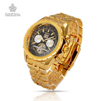 Wholesale Orkina Automatic - Wholesale-Men Luxury Brand Wristwatches Stainless Steel Mechanical Watches Military Business Golden Silver ORKINA Watch Gift For Men