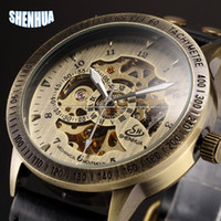 Wholesale Vintage Skeleton Automatic Watch - Wholesale-Vintage Bronze Men Wristwatch Skeleton Clock Male Leather Strap Antique Steampunk Casual Automatic Skeleton Mechanical Watches