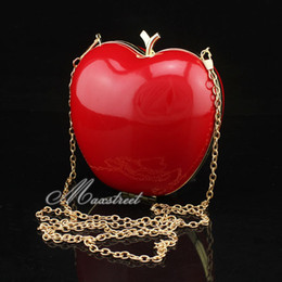 Wholesale Shaped Clutch - Wholesale-Free Shipping 5 colors option Lovely Apple Shaped Womens Bags Fashion Clutch Wedding Evening Chain Handbag Wholesale