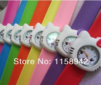 Wholesale Slap Watch Wholesale - Wholesale-Free shipping hello kitty slap watch silicon Children Watch Rubber cartoon quartz kid Jelly watch 10pcs