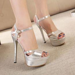 Wholesale Rome Sandals Gold - Wholesale-New 2015 Summer Rome Style Sandal Fashion 14cm Women Sandals Platform High Heels Luxurious Gold Silver Lady's Shoes