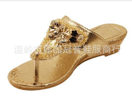 Wholesale Bow Wedge Sandals - Wholesale-Women's thong sandals and slippers herringbone new spring and summer 2015 fashion bow decoration beads rhinestones 4.5-8