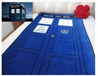 Wholesale Towel Bedding - Wholesale-226cm*127cm Doctor Who Tardis Blanket Cartoon bed sheet gift Time Machine Tardis Linen Booth Comfortable Blue Woolen Blanket