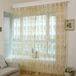 Wholesale Modern Curtain Panels - Wholesale-fashion modern organza finished window screning curtain for living room sheer voile curtains tulle panel office decoration