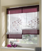 Window blackout window shades - PC Embroider Flower Short Sheer Curtains for Living Room Kitchen cortinas Window Curtains Roller Blinds Roman Shade Blind