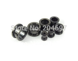 Wholesale Mixed Screw Ear Plugs - Wholesale-60pcs Mix 6 Gauges 10-20mm Titanium Anodized Stainless Steel Screw On Black Flesh Tunnel Ear Expander Plug Body Jewelry