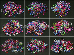 Wholesale Horseshoe Lip - Wholesale-body piercing jewelry bioplast barbell eyebrow ring labret lip ring curved circular horseshoe cbr ring mix color design acrylic
