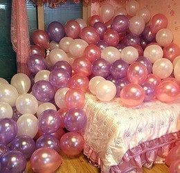 Wholesale Wholesale Pearl Balloons - Wholesale-2015 Party Wedding balloon 10 inch pearlized round circle balloon 14 colors 100pcs 1 bags free shipping