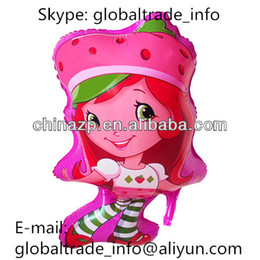 Wholesale Cheap Balloons Free Shipping - Wholesale-SMILE MAKRET FREE SHIPPING 45cmX76cm Wholesale in Stock Cheap Hot Selling Strawberry Girl Shaped Cartoon Character Balloon