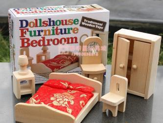 Wholesale Bedroom Furniture Miniature Wooden Dollhouse Furniture Sets Toys For Children Free Shipping