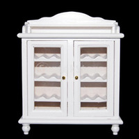 Wholesale Living Room Wooden Cabinets - Wholesale-Free Shipping 1 12 Dollhouse Miniatures Living Room Furniture Wooden Wine Cabinet - White