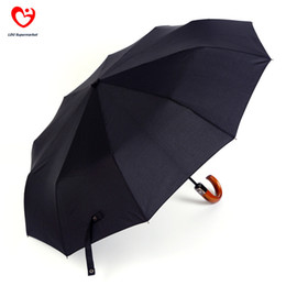 Wholesale Chinese Umbrellas For Sale - Wholesale-10 Spokes Automatic 3 Fold Curved Wooden Handle Men Black Windproof Rain Umbrellas For Sale 2015 Chinese Famous Brand Umbrella