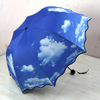Wholesale-Blue Sky Super Anti-UV Flouncing Drei- Folding Umbrella für Männer und Frauen Princess Mushroom Regenschirme guarda chuva