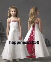 Lovely White& Red Satin Embroidery Beads Flower Girl Dres...