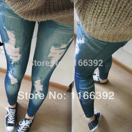 Drop Skinny Jeans Pas Cher-Grossiste-Sexy Fashion Ladies Jeans Tight Stretchy Jeggings Pant Vintage Worn Skinny Leggings Pantalon 2Color Drop Shipping