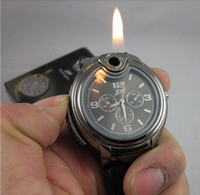 Wholesale Fire Belts - Wholesale Hot Sale creative   new strange   lighter watch   inflatable fire lighters watch dress Wrist Watches black and silver color