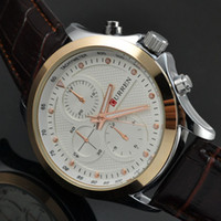Wholesale Promotional Branded Gifts - Wholesale-Promotional Brand Curren 8138 Male Leather Strap Quartz Watch 3 Dial Casual Sports Watch Men Dress Watches Relogio Gift